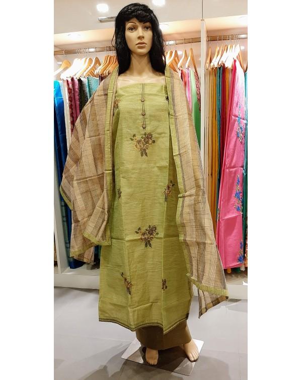 Cross stitch work on chanderi silk salwar set