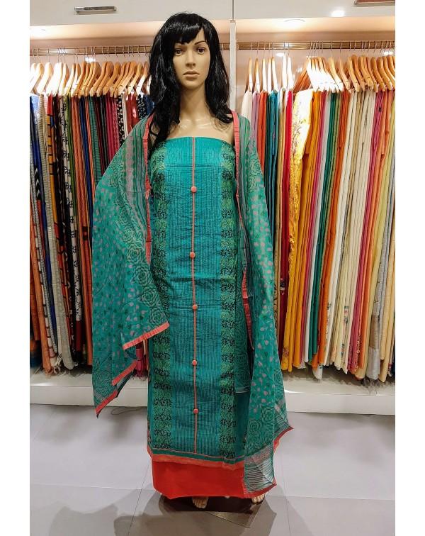 Embroidery work on chanderi salwar set.