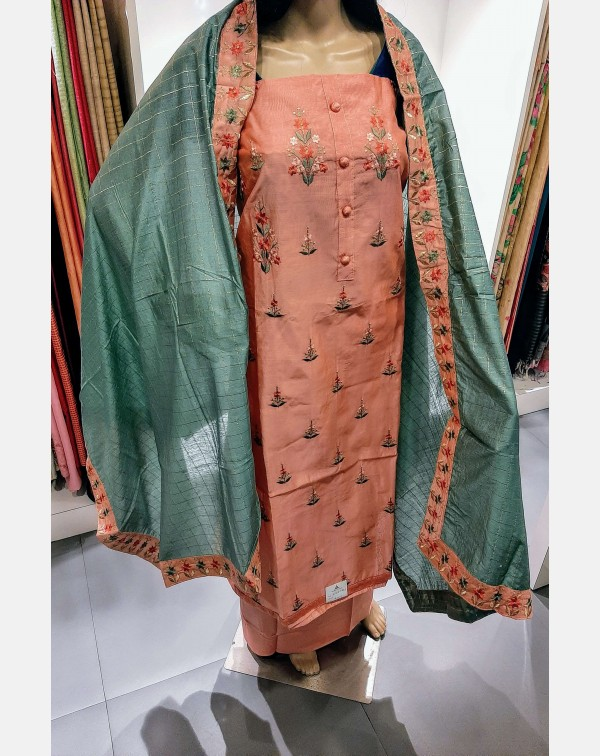 Embroidery work on peach chanderi silk