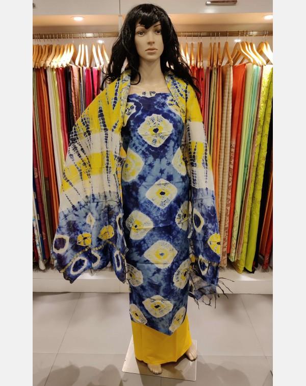 Blue and yellow tie & dye chanderi salwar set