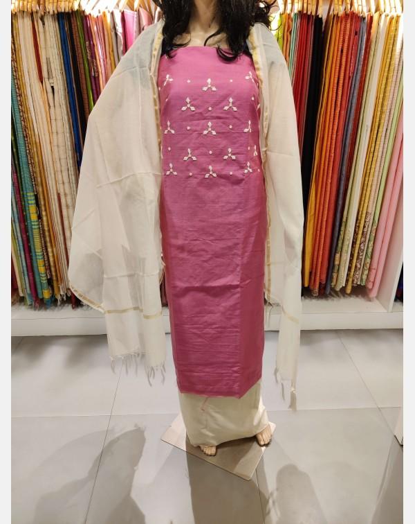 Handworked Pink chanderi salwar set