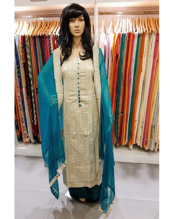 Embroidery work on cotton salwar set.