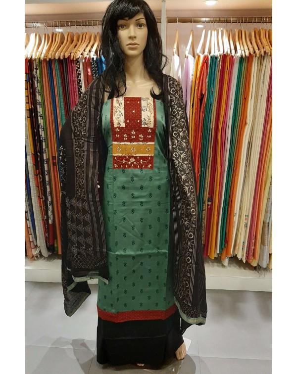 Handwork on cotton with satin finish salwar set.