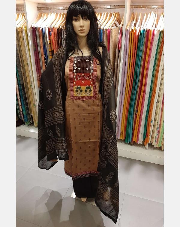 Handworked satin cotton salwar set.
