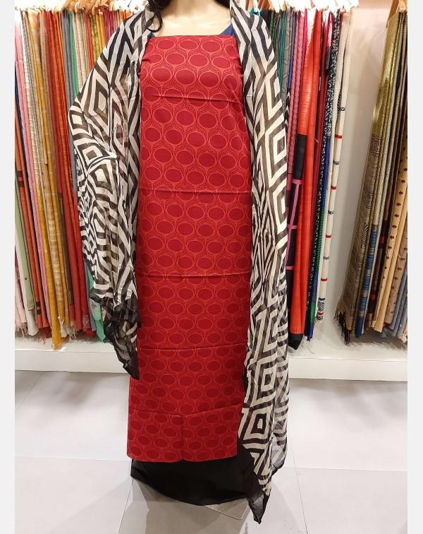 Red printed cotton salwar Top
