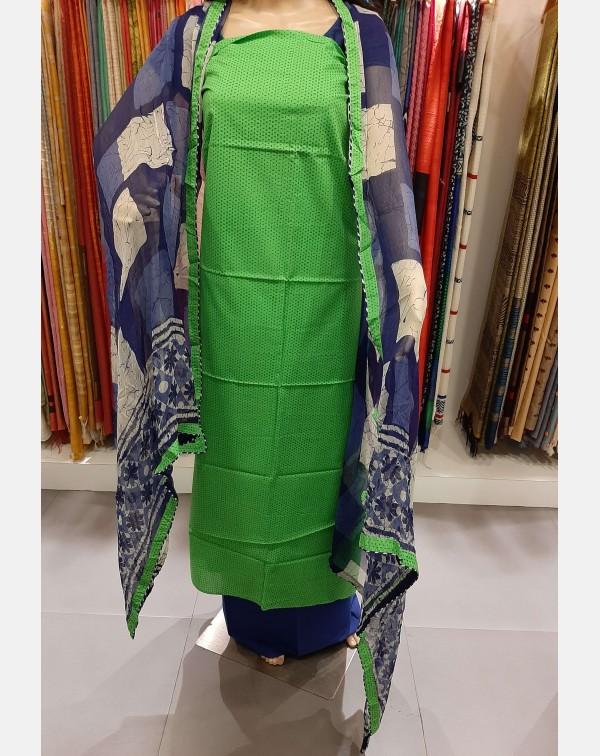 Green printed cotton salwar set