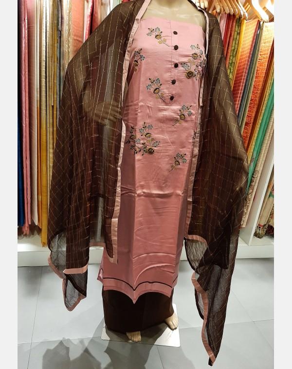 Handworked pink satin cotton salwar set