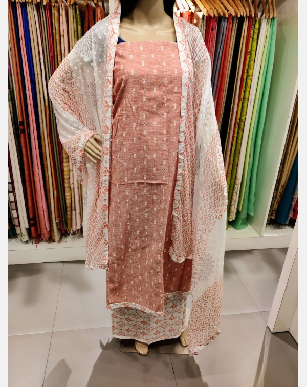 Pink cotton top with off-white butta weaving