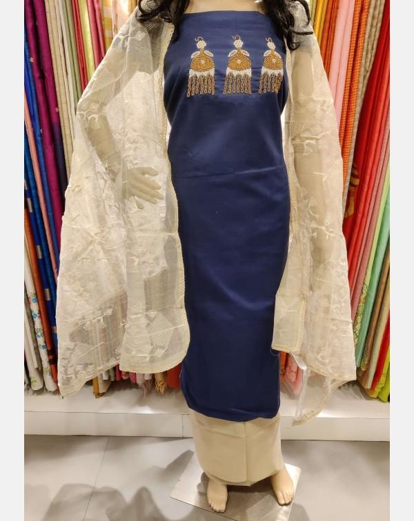 Handworked blue cotton salwar set.
