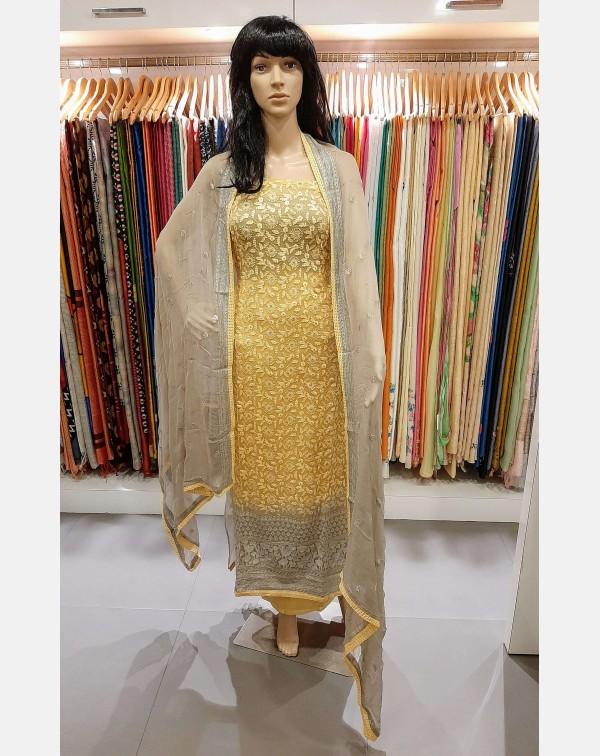 Embroidery work on chiffon salwar set