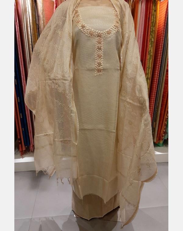 Beige handworked  silky Kota salwar set.