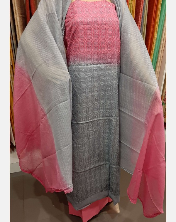 Pink and grey embroidery worked Kota salwar set