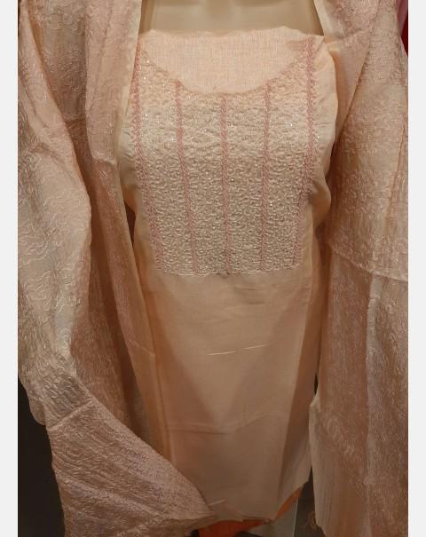 Light peach handworked art silk salwar set