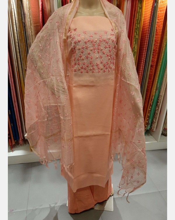 Peach handworked Kota cotton salwar set.