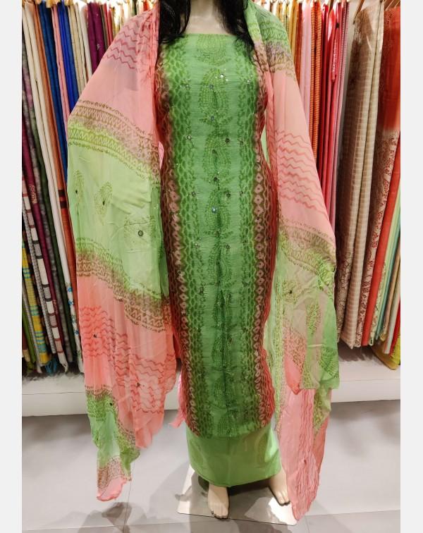 Block printed Green & Pink kota salwar set