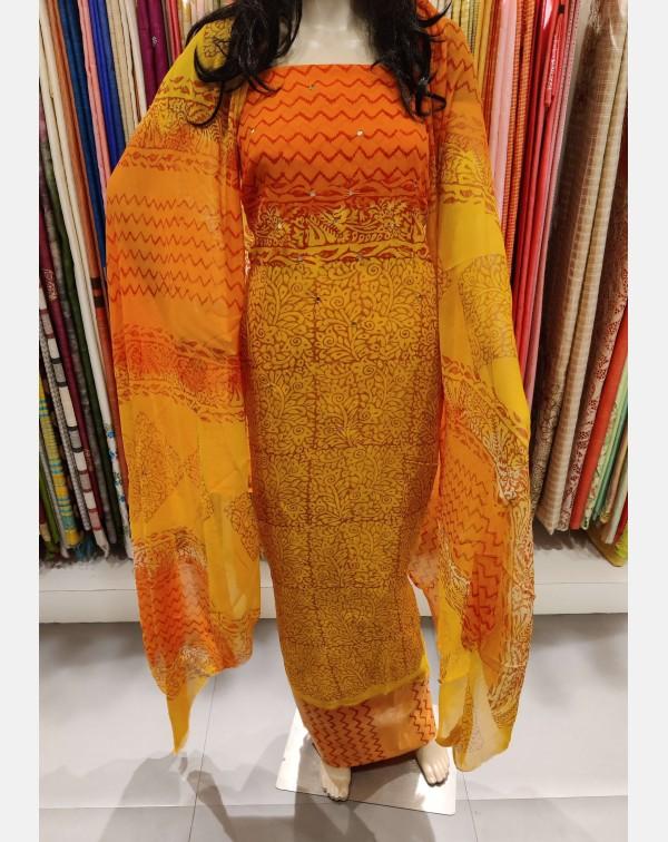 Orange & yellow, block printed georgette salwa...