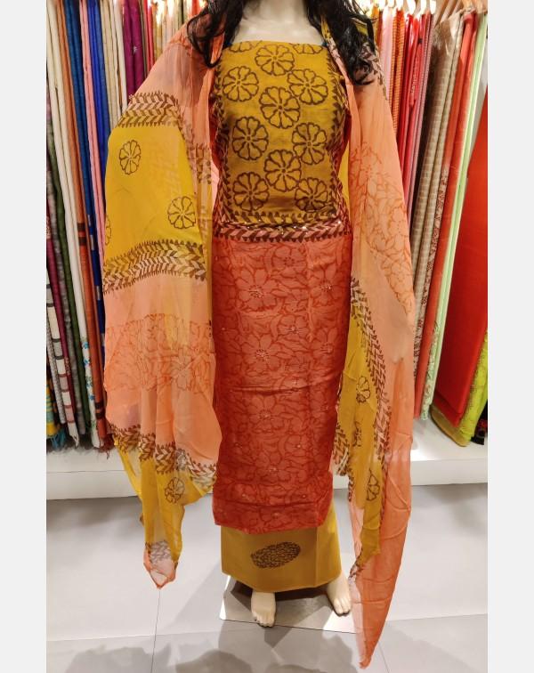 Blocked printed peachish pink kota salwar set.