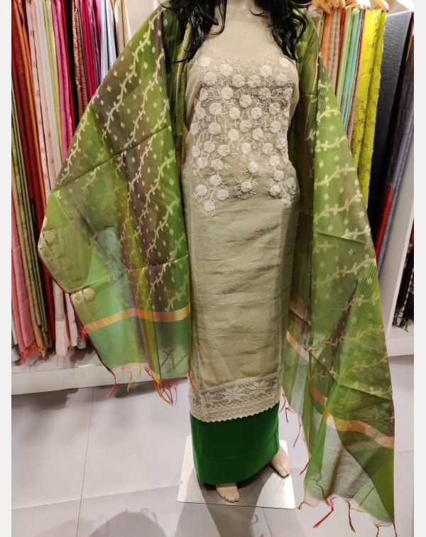 Handworked beige kota salwar set.