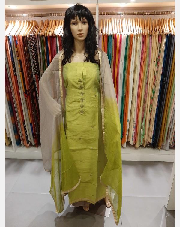 Handwork on semi silk salwar set.