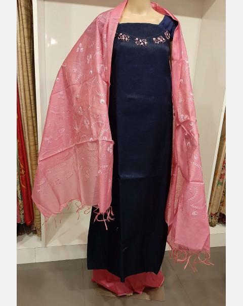 Handworked navy blue semi silk salwar set.