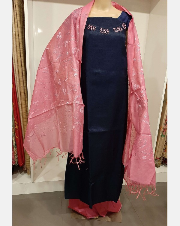 Handworked navy blue semi silk salwar set.