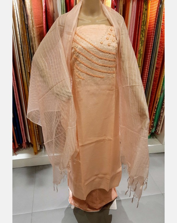 Peach handworked semi silk salwar set