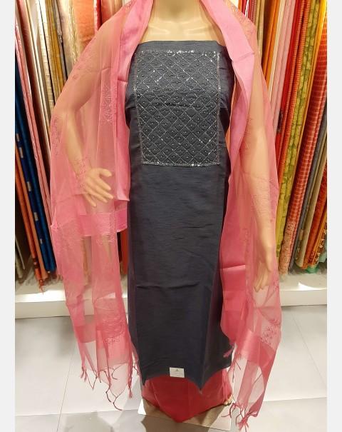 Dark grey handworked semi silk salwar set.