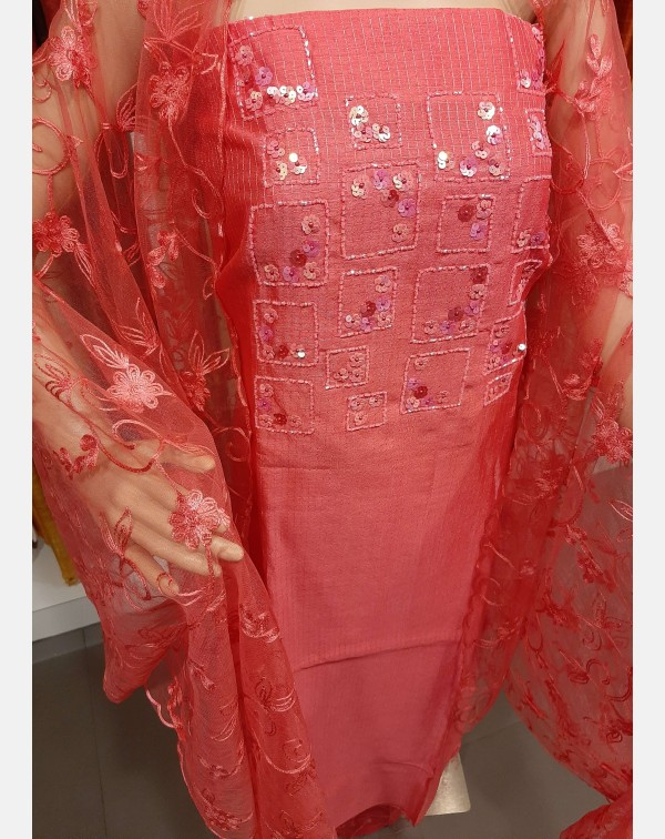 Handworked reddish pink semi silk salwar set