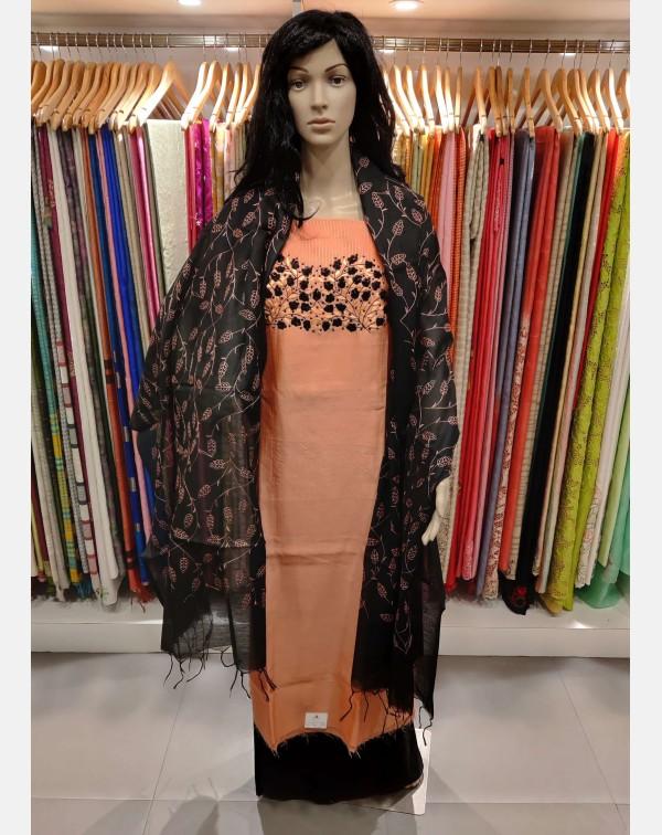 Semi silk peach & black hand embroidery salwar...