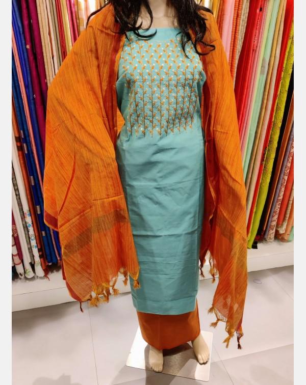 Handworked turquoise green semi silk salwar set.