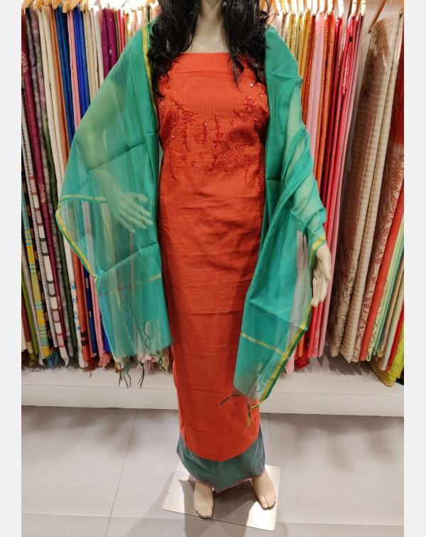 Handworked red semi silk salwar set.