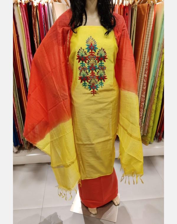 Yellow semi silk salwar set
