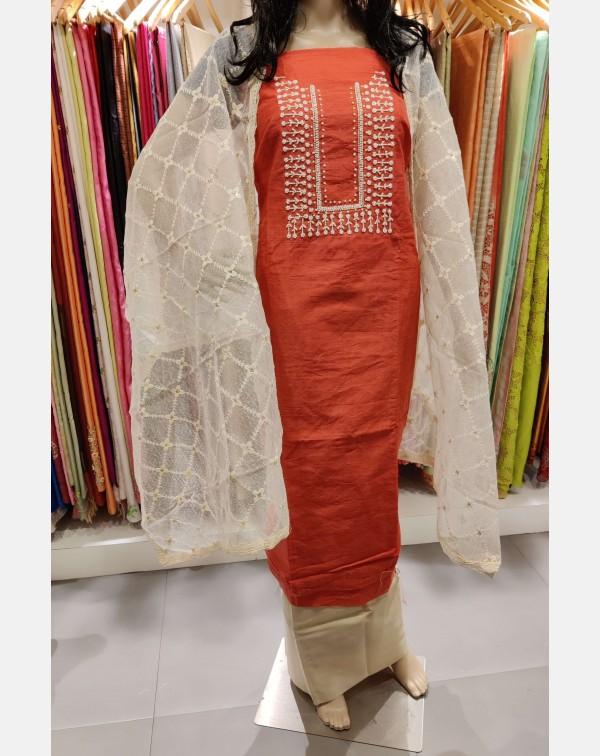 Handworked pink semi silk salwar set.
