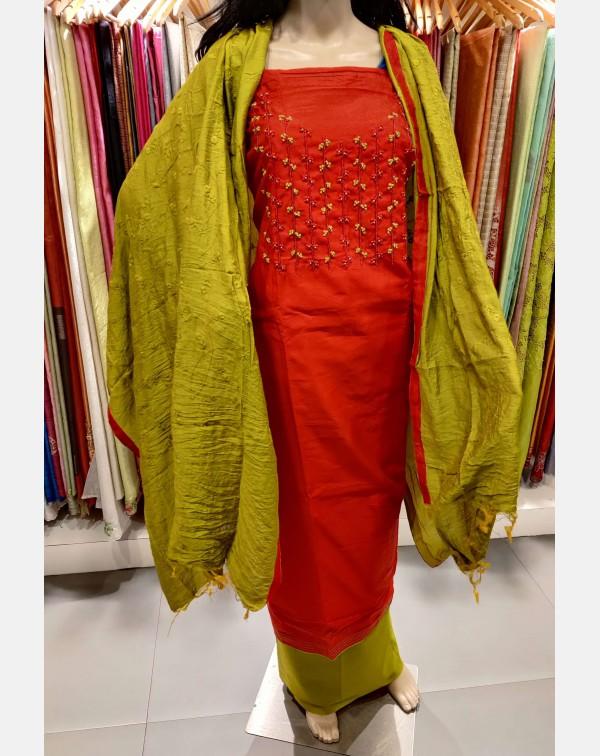 Handworked Red semi silk salwar set