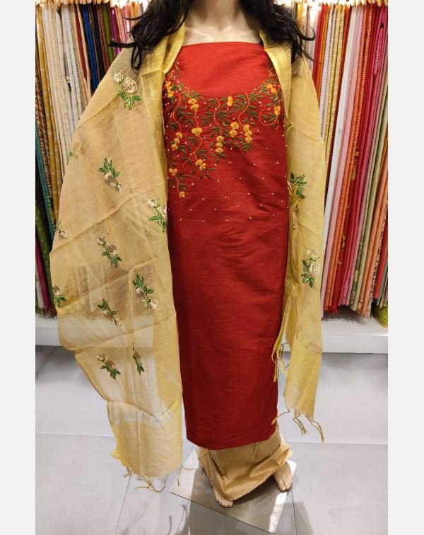 Embroidery worked Red semi silk salwar set