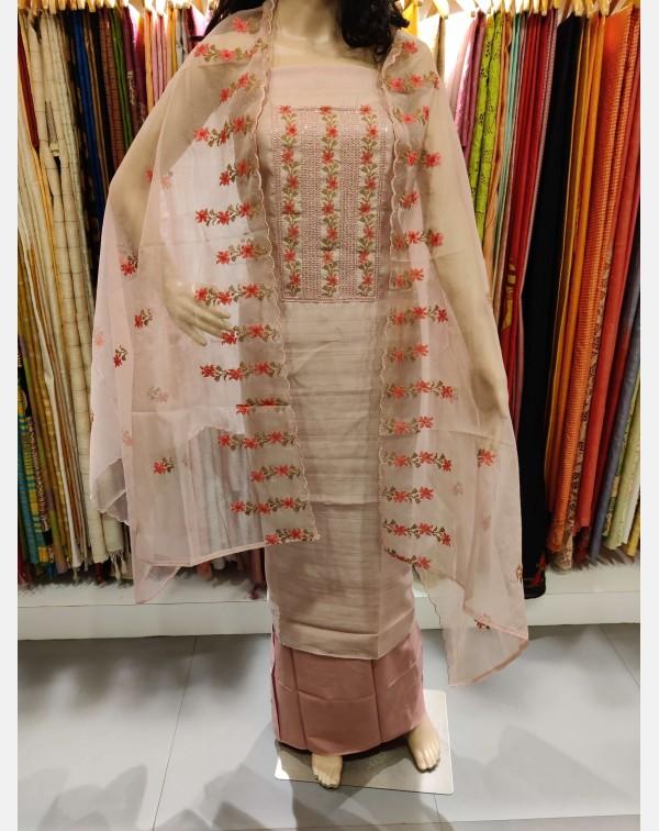 Handworked semi silk salwar set