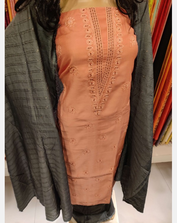 Handworked dark peach semi silk salwar set