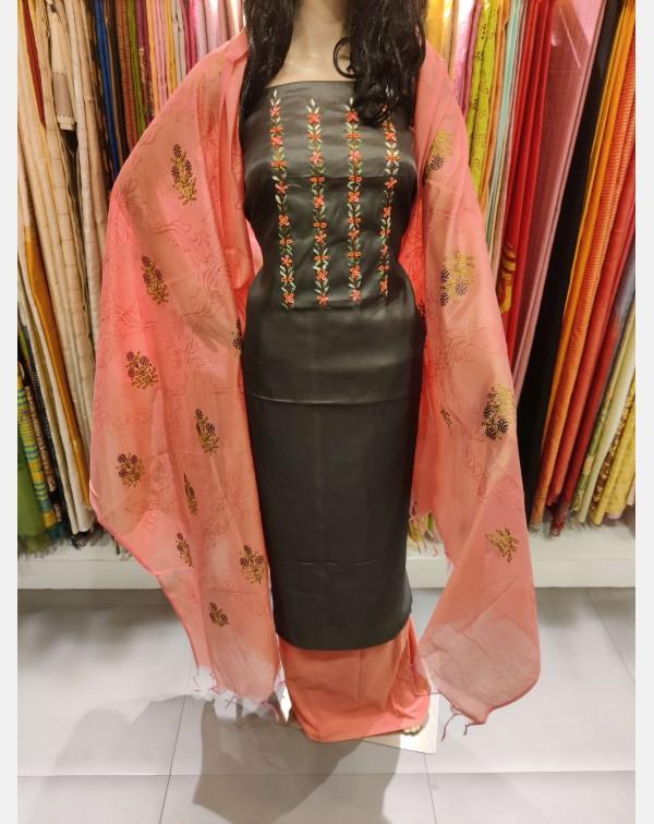 Dark grey handworked semi silk salwar set