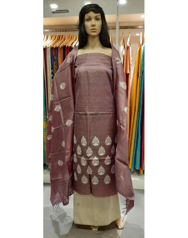 Embroidery work on desi tussar silk salwar set