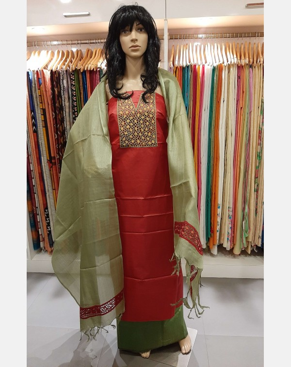 Cutwork on tussar silk salwar top