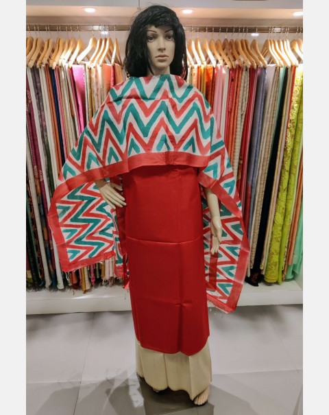 Red Tussar silk salwar set