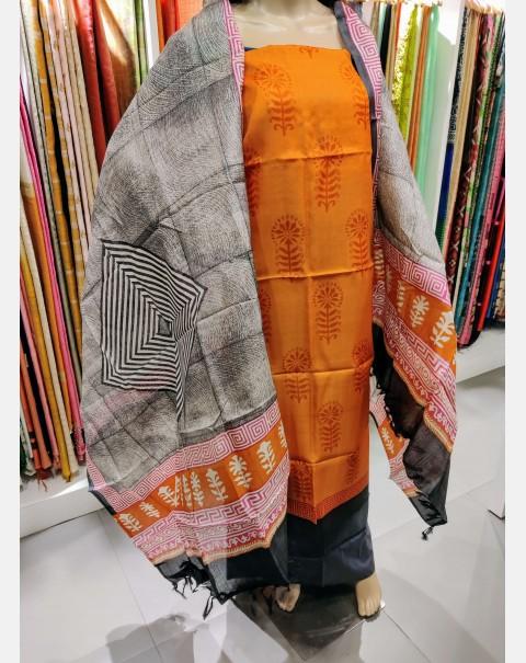 Block printed orange tissar silk salwar set