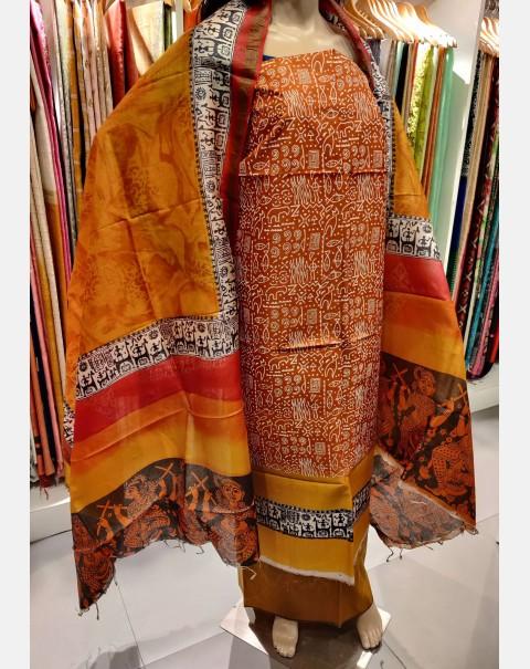Golden brown block printed Tussar silk salwar set