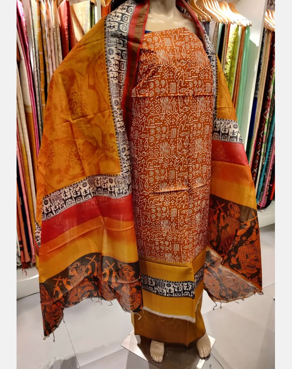 Golden brown block printed Tussar silk salwar set