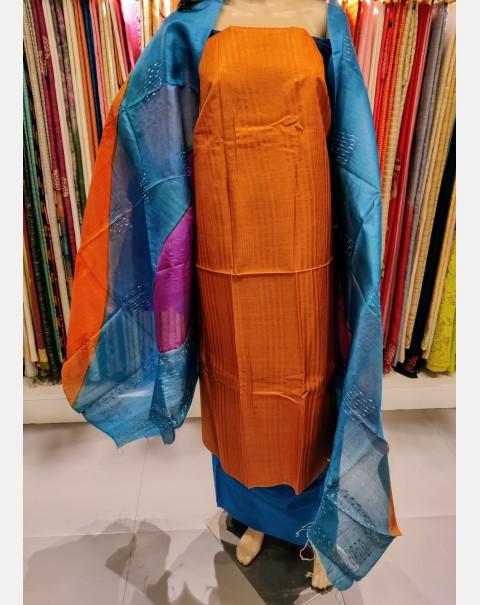 Orange stripes tussar silk salwar set