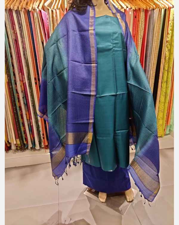 Dark turquoise blue Tussar silk salwar set