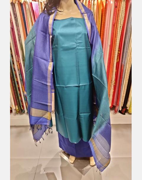 Dark turquoise blue Tussar silk salwar set