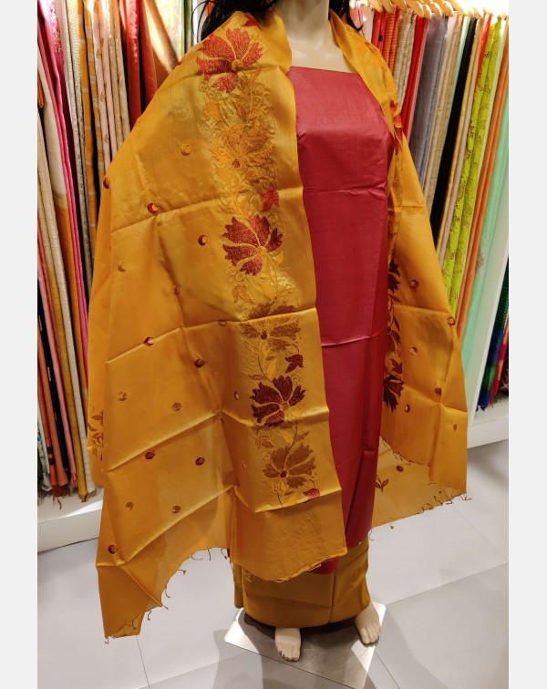 Red Tussar silk salwar set