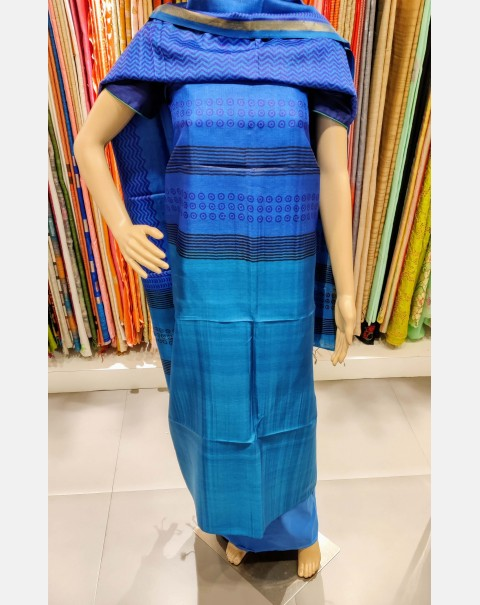 Printed navy blue & sky blue Tussar silk set