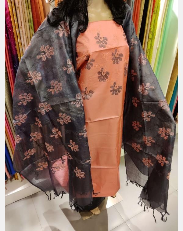 Cross stitch embroidery on peach Tussar silk salwa...